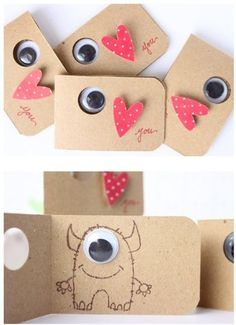 Monsters valentine's card, heart, eye love you. Monsters valentine's card, heart, eye love you. Birthday Invitations Kids, Birthday Cards, Diy Invitations, Invitation Ideas, Diy Birthday, Invitation Cards, Diy And Crafts, Crafts For Kids, Monster Party