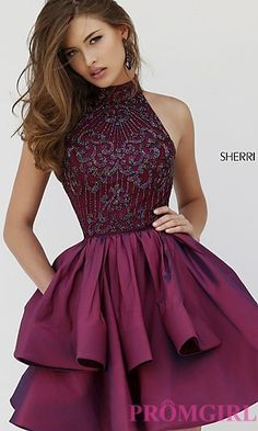 Sparkle Homecoming Dress,Wine Red Homecoming Dresses,High Neck Homecoming…