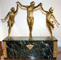 The Three Graces by Pierre Laurel (Marble & Spelter) 1920