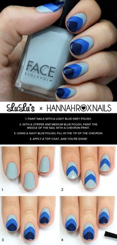 Blue Chevron Nail Tutorial