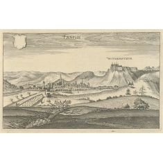 Kupferstich Merian, Bad Laasphe, Burg Wittgenstein, Hessen, Stich, Fototapete Merian