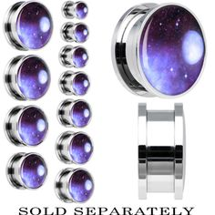 Peaceful Universe and Moon Screw Fit Plug in Stainless Steel | Body Candy Body Jewelry #bodycandy
