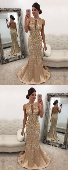 Champagne Sleeveless Crystals Backless Halter Mermaid Gorgeous evening Dress Long Prom Dress, PD0499 #longpromdresses