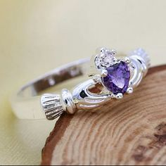 Silver ring Elegant Silver purple amethyst crystal special wedding rings Size7 Jewelry Rings