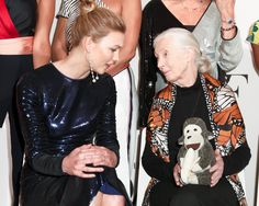 Karlie Kloss and Jane Goodall enjoy a moment at the eighth annual DVF Awards.