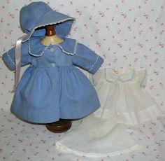 "1940's Effanbee 15"" Dy-Dee Doll COMPLETE ORIGINALOutfit --  Coat / Bonnet / Dress / Slip"