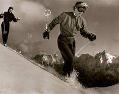 """""""Maria Bogner and sister Liesl personally test the new wind blouses."""" From here: 50 years of ski fashion at Corvatsch Do you remember? The first stirrup pants by Bogner at the end of the fifties? Vintage Ski, Vintage Winter, 9 Month Old Baby, Ski Posters, Ski Wear, Apres Ski, Cross Country Skiing, Ski Fashion, Snow Skiing"""
