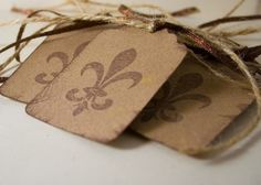 hand-stamped Fleur de Lis gift tags