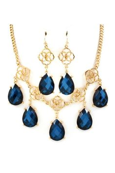 crystal necklace and matching earrings