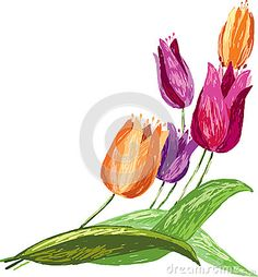 All pink only if all i can have is simple tulips!!!! tulips-sketch-vector-image-bouquet-48640329.jpg (400×431)