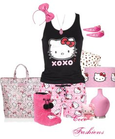 """""""Pajama Party-Hello Kitty"""" by coco-cris-1 ❤ liked on Polyvore"""