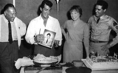 Dean Martin, Shirley MacLaine and Hal Wallis with Elvis at a birthday party for Dean on June 7, 1960