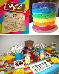 Willy Wonka themed bid day party: 'Golden ticket' invitations in chocolate bars, a muulti-coloured layer cake (covered in fondant and turned into Wonka's hat, as seen in bottom shot), and lots of colourful lollies.