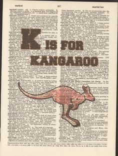 K is for Kangaroo Vintage Upcycled Book Page by StorybookArtPrints