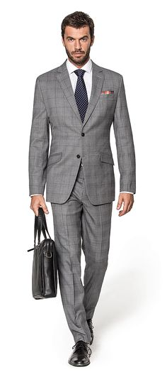 Grey dark checked 100% Wool Suit