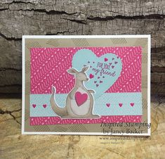 Inspired Stamping by Janey Backer Love Valentines, Valentine Day Cards, Handmade Birthday Cards, Handmade Cards, Stampin Up Paper Pumpkin, Quick Cards, Animal Cards, Stamping Up, Baby Cards