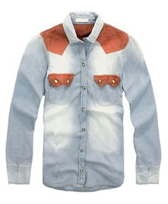 Contrast Panel Denim Shirts with Flap Pockets