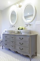 Stunning Bathroom Tour + Dresser into Double Vanity How to turn a vintage french dresser into a double sink vanity. Includes tips, paint color used, and best non-yellowing, waterproof top coat for a bathroom. Bad Inspiration, Bathroom Inspiration, Dresser Inspiration, Shabby Chic Homes, Shabby Chic Decor, Repurposed Furniture, Shabby Chic Furniture, Vintage Furniture, Rustic Furniture