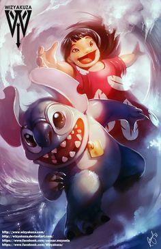 Lilo & Stitch Disney 11 x 17 Digital Print by Wizyakuza on Etsy Arte Disney, Disney Fun, Disney Magic, Disney Movies, Disney Characters, Dragon Ball, Pokemon Super, Right In The Childhood, Old School Cartoons