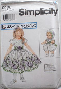 """Little Girl's Daisy Kingdom Dress and Dress for 13"""" Doll Sewing Pattern - Simplicity 9096 - Sizes 3-4-5-6, Breast 22 - 25 - Uncut by Shelleyville on Etsy"""
