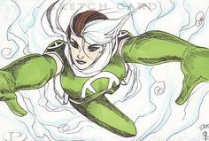 Marvel Premier x Men's Rogue by Boo Sketch Card Hinged 3 Total Color Panels | eBay