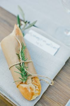 Dress up the bread on your tables to fit the theme: http://www.stylemepretty.com/little-black-book-blog/2015/08/06/romantic-spring-wedding-at-etude-winery/ | Photography: One Love - http://www.onelove-photo.com/