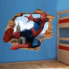 3d Wallpaper Green, Kids Room Wallpaper, Kids Room Design, Home Design Decor, Wall Stickers Avengers, Marvel Bedroom, Avengers Room, Indian Art Gallery, Kids Room Wall Art
