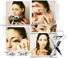 """louveniabosleybd0a: """" 40 Must-Have Makeup Tips #39 Sticky Tape? The question on every girls lips is how to get the perfect winged eyeliner. Makeup artist Rae Morris is here to help: """"apply slightly..."""
