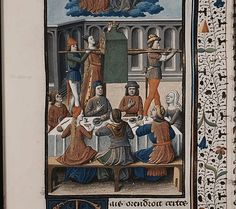 The Hague, MMW, 10 A 11 fol. 338r   Book 7, 21  Banquet and festival of Liber, god of fructification and the (liquid) seed; during the feast, the most honourable matron present, was obliged to place a crown over the male member that was carried around ceremoniously; Liber (Bacchus) and Libera (Proserpina)