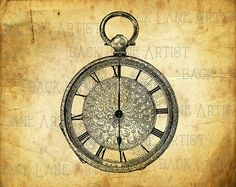 Vintage Pocket Watch Clipart Lineart by BackLaneArtist on Etsy