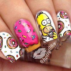 the simpsons nail art Crazy Nails, Fancy Nails, Love Nails, Pretty Nails, My Nails, Cute Nail Art, Cute Nail Designs, Creative Nails, Nail Arts