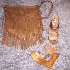Floral Wedge Sandals Steve Madden Cut Wedge Sandals. Fringe bag (h&m) $15 Steve Madden Shoes Wedges