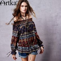 Artka Women's Bohemian Retro Unique Ethnic Print Off-The-Shoulder Drawstring Cinched Hem Lantern Sleeve Shirt SA14355C PRESELL