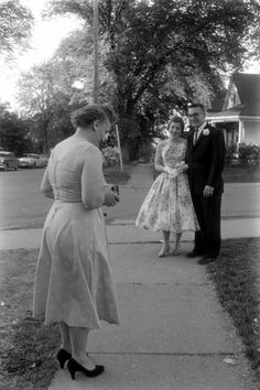 Mom takes prom photo, Mariemont High School, OH, photo by Francis Miller Vintage Photographs, Vintage Photos, 1940s, Types Of Gowns, Bridal Skirts, Bridal Gowns, Wedding Gowns, Prom Photos, Prom Images