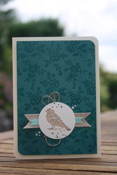 I Love Lace background stamp in black embossed with clear, and the Choose Happiness stamp set for the bird.