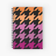 Hounds Tooth, My Notebook, Purple, Pink, Lesbian, Spiral, My Arts, Art Prints, Abstract