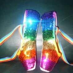 rainbow ballet shoes