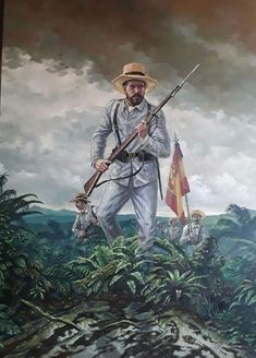 Spanish Soldier in the cuban war 1896 Spanish War, The Spanish American War, Spanish Colonial, Military Art, Military History, Military Uniforms, Plains Indians, Magic Realism, Cuba
