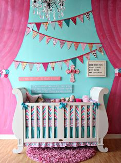 Gorgeous crib, gorgeous bedding and awesome wall!