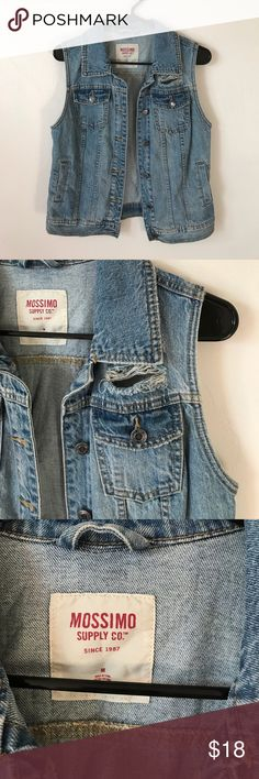 Mossimo Supply Co Distressed Denim Vest Great condition. Meant to be Distressed and faded. Super cute and trendy. Looks like it could fit smaller Mossimo Supply Co Jackets & Coats Vests