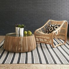 Sloped Woven Rattan Chair