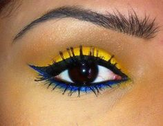 I know this is extreme make up, but I liked it because it's your wedding colors :)