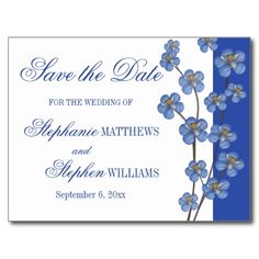 Cobalt Blue | White Orchid Sprig Save the Date Postcards