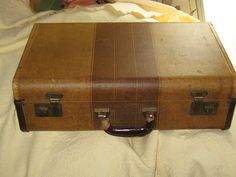 antique tweed and leather suitcase by Linsvintageboutique on Etsy, $44.50