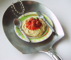 jewlery made from minitures | Cute Food Jewelry Made Out of Miniatures - Spaghetti and Meatballs ...