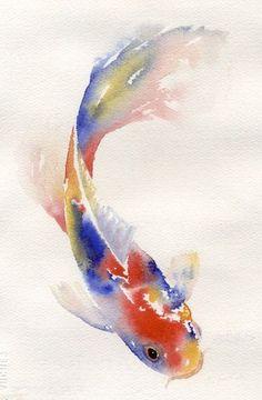 beautiful fish watercolor: Koi painting style of Japan.
