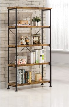 Furniture. Lacquered Hickory Wood Bookshelves With Modern Black Iron Frame. Gorgeous Metal And Wood Bookcase Design Ideas