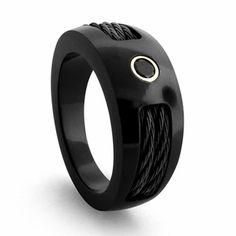 Edward Mirell 10mm Black Titanium Diamond Ring with Cables