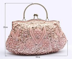 New Satin Beaded Shoulder Handbag Wedding Party Prom Clutch Purse Evening Bag #Unbranded #EveningBagsClutches
