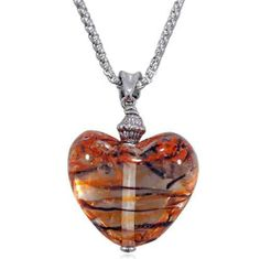 Pugster Black And Orange Striped Heart Murano Glass Pendant Pugster. $15.49. Money-back Satisfaction Guarantee. Gorgeous Murano Glass. Great to give away as presents, gifts to friends or family members.. Handmade in China in the VenetianáMuranoáSty. Each set comes with its own necklace attached various colors,Free Jewerly Box.. Save 70%!